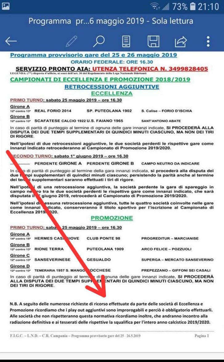 Calendario Promozione Campania.Eccellenza E Promozione Finto Comunicato Alle Societa Chi